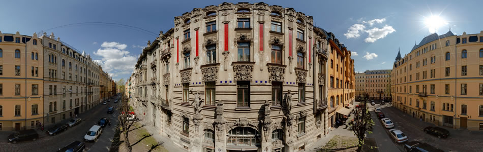 Art Nouveau building at Alberta street in Riga | 360° panorama