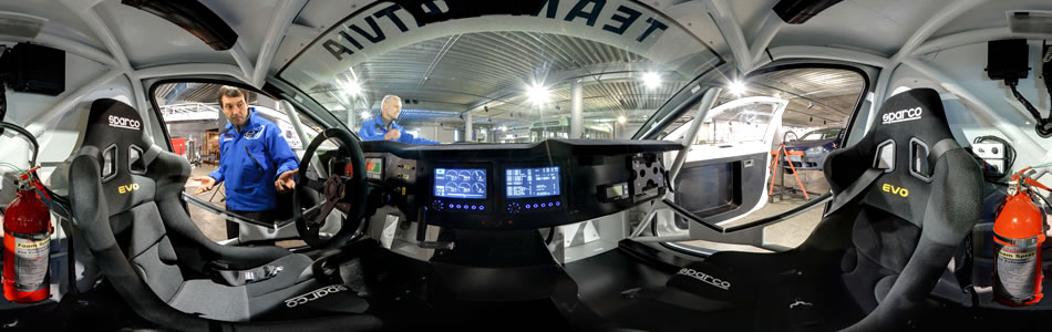 Inside the OSCar eO - World's First Electric Race Car to Participate in Dakar 2012 | 360° panorama