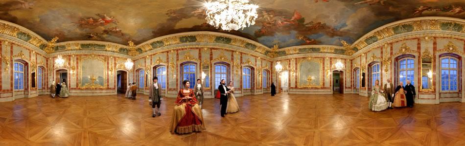 Baroka tērpi Rundāles pils Zelta zālē | 360 grādu panorāma