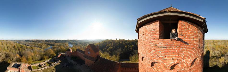 Turaidas pils tornis, Sigulda, rudens | 360° panorāma