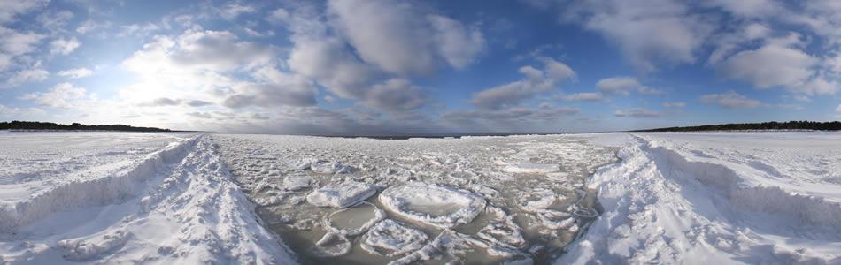Vecaki beach in wintertime, Latvia | 360 grādu panorāma
