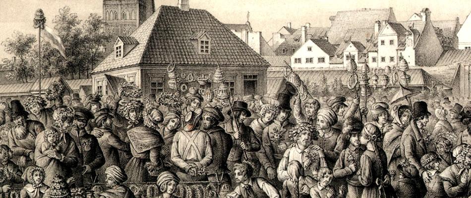 Zāļu vakars Rīgā. 1842. gads. TeodoraHeinrihaRikmana litogrāfija.
