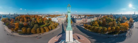 The Freedom Monument in Riga – aerial view