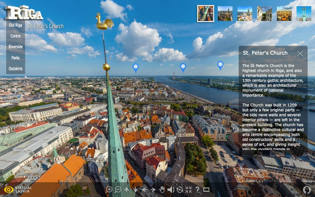 High quality 360 degree aerial panoramas and virtual tours of Riga city.
